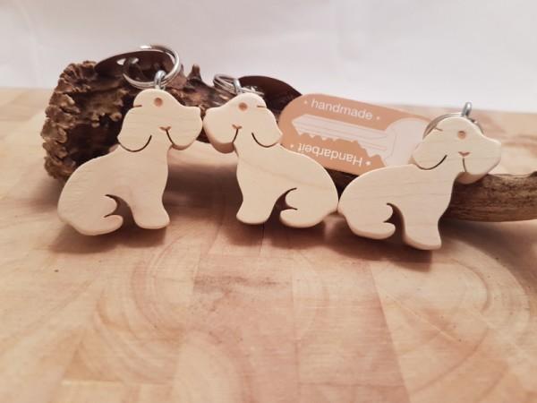 Schlüsselanhänger Holz Hund