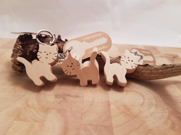 Schlüsselanhänger Holz Katze